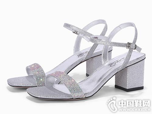 迪朵Diduo女鞋2019夏季新款一字帶露趾涼鞋