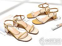 珂卡芙粗跟2019夏季新款一字带百搭女鞋