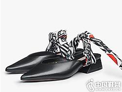莎莎苏2019春夏新款绑带包头时尚小白半拖鞋