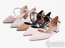 2019夏新款百丽一字带凉鞋