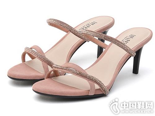 简约时尚一字带凉鞋 真美诗2019夏季新款