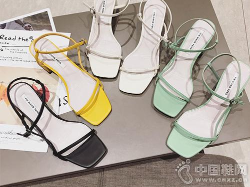 印象风细带粗跟中跟凉鞋女2019夏季新款