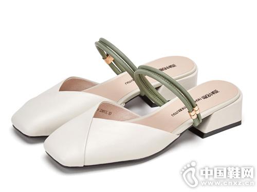 西村名物穆勒鞋女一字带粗低跟拖鞋