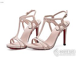 万里马春夏新款女鞋真皮细跟高跟鞋
