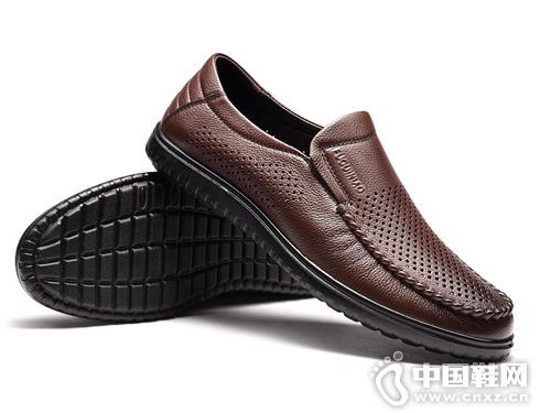 富貴鳥夏季男鞋透氣薄款涼皮鞋