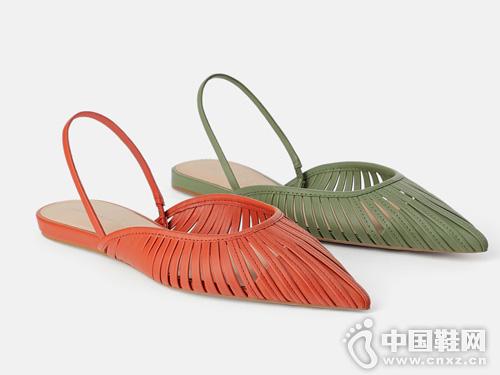 ZARA新款 女鞋 带饰平底穆勒鞋
