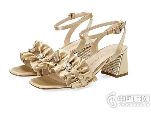 Roberta诺贝达女鞋新品2019水钻粗高跟凉鞋