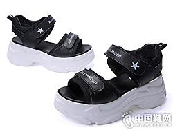 2019夏新款真皮吉祥鸟厚底凉鞋