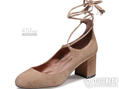 羊皮通勤時裝粗跟鞋o-e歐意2019年新款