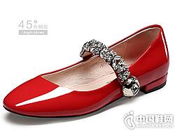 o-e欧意2019新款单鞋漆皮玛丽珍鞋