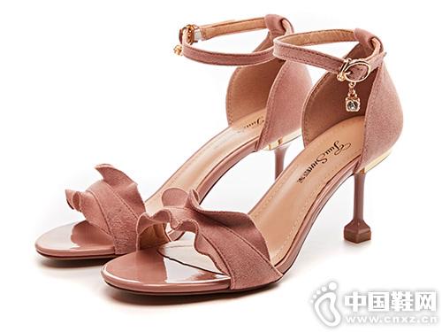 巨圣2019夏季新款细跟一字扣带仙女风凉鞋