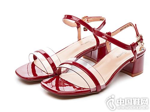 2019新款夏季粗跟凉鞋巨圣网红女鞋