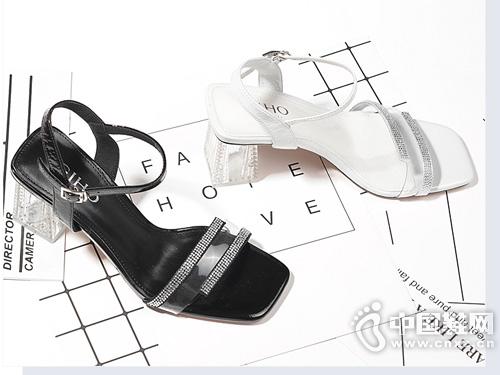 杰豪凉鞋女2019新款一字扣带高跟鞋