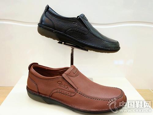 雅樂士新款手工全牛皮氣墊套腳休閑皮鞋