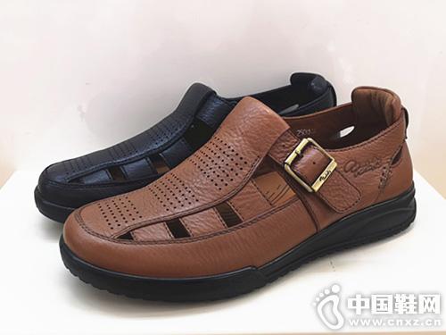 雅樂士手工縫制頭層牛皮包頭男涼鞋