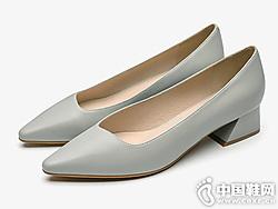 莱尔斯丹 19尖头奶奶鞋粗跟单鞋