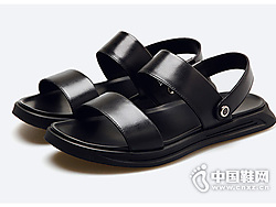 皮尔卡丹夏季真皮时尚休闲套脚沙滩鞋