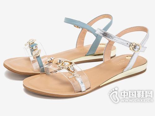 Tata他她2019新款仙女風時尚一字帶女涼鞋