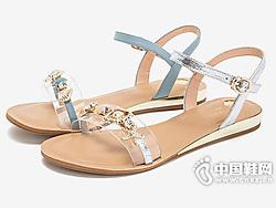 Tata他她2019新款仙女风时尚一字带女凉鞋