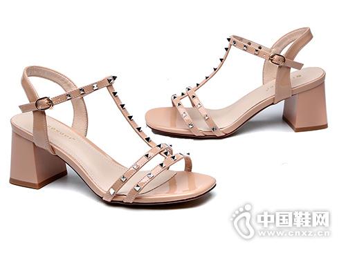 月芽儿2019夏季新款欧美性感铆钉舒适高跟鞋