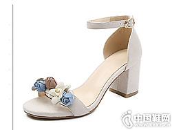欧情派真皮珍珠花朵凉鞋女粗跟