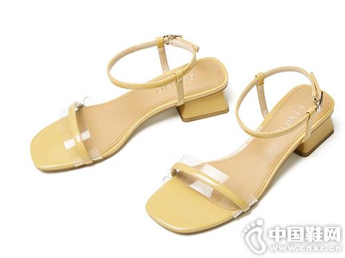 戈美其2019夏季新款一字扣带露趾凉鞋