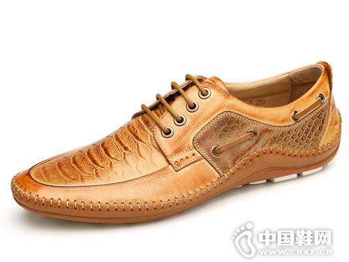 欧伦堡春季新款男鞋蟒纹休闲皮鞋简约系带