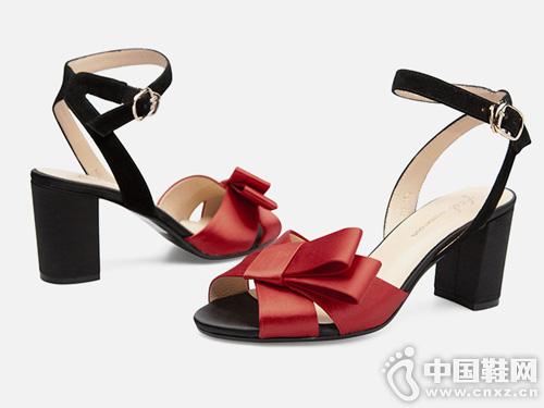 fed鞋子蝴蝶结一字带鱼嘴舒适粗跟高跟凉鞋