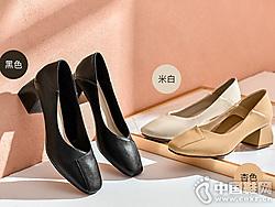 华耐奶奶鞋女2019新款秋季方头简约