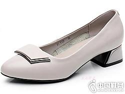 花王扣扣装饰真皮粗跟中年女单鞋