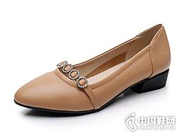 2019上海花王正品休闲中跟粗跟真皮浅口女鞋