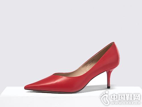 迪朵Diduo真皮單鞋2019秋季淺口高跟鞋