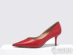 迪朵Diduo真皮单鞋2019秋季浅口高跟鞋