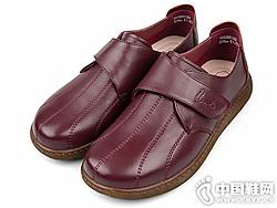 老美华秋季新款单鞋中老年妈妈皮鞋