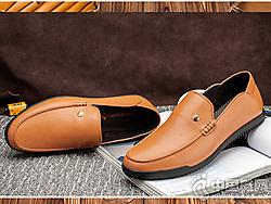 红蜻蜓男士休闲鞋真皮懒人鞋子男潮鞋