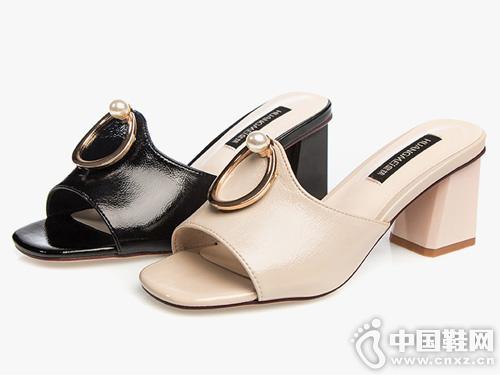 皇妹2019新款夏季金属珍珠简约时尚高跟拖鞋