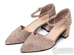 康莉鞋子女2019潮鞋单鞋高跟一字粗跟单鞋