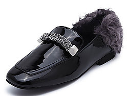 Hongkee红科平底鞋女牛漆皮毛毛鞋