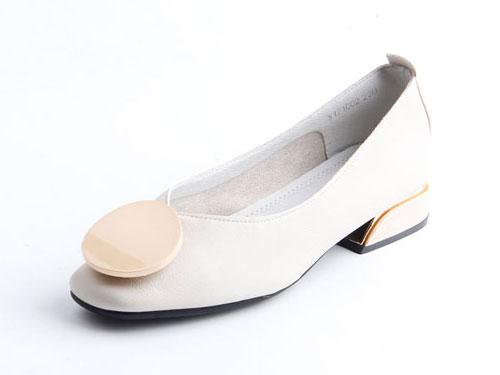 仙妮特淺口方頭休閑舒適低跟女鞋