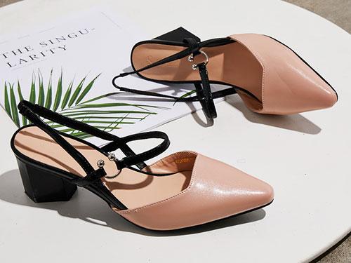 SELFTREND涉趣高跟鞋2019新款网红尖头女凉鞋