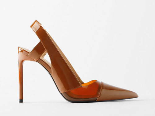 ZARA-新款女鞋糖果色塑胶尖头露跟高跟鞋