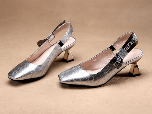 法蒂娜2019夏季新款女鞋牛皮粗跟鞋