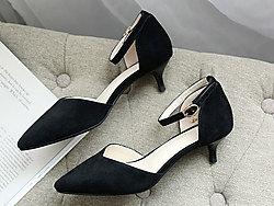 欧百特小跟2019夏新款真皮凉鞋仙女猫跟