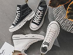 安丽尼卡2019新款秋季高帮百搭马丁靴小白鞋