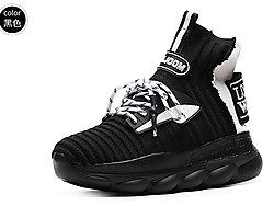 城市丽人2019新款春季针织高帮袜筒厚底单鞋