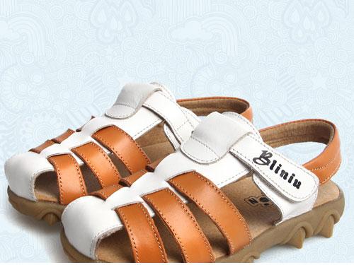 犇力牛童鞋真皮包头儿童凉鞋