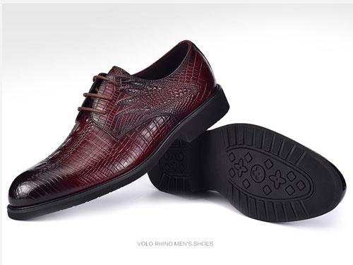 VOLO犀牛男鞋-真皮鱷魚紋商務正裝牛皮鞋