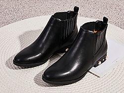 2019英伦风涉趣平底纯色切尔西靴女中筒靴