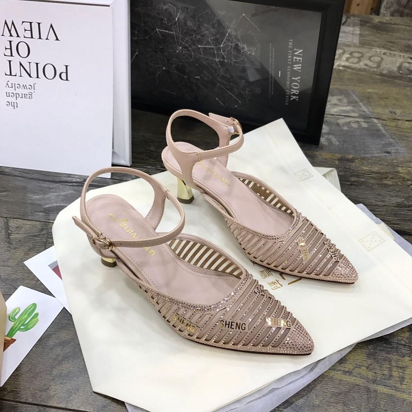 安嘉莉女鞋2019夏季新款网紗镂空高跟