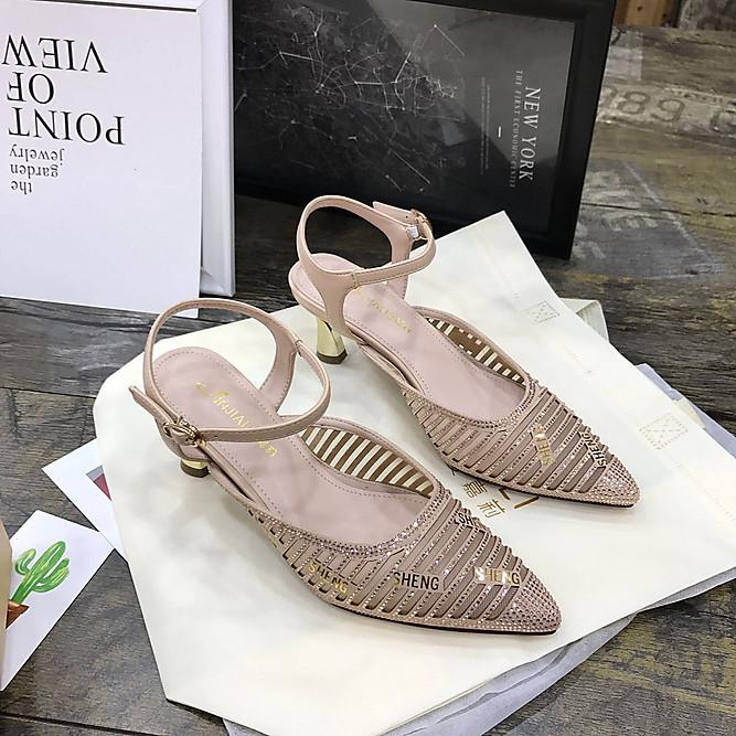 安嘉莉女鞋2019夏季新款�W��U空高跟